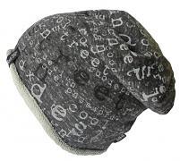 Čepice dlouhá tisk Písmena ohrnutý lem 5,6,7