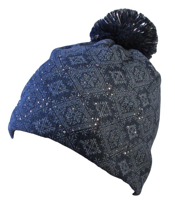 450800ea1aa Zimní čepice s kamínky a bambulí 5