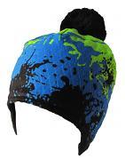 Modro-černo-zelená Fleky na uši zimní