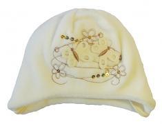 Fleecová čepička s motýlky a flitry 3-6měs.