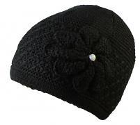 Pletená zimní čepice s květem 52