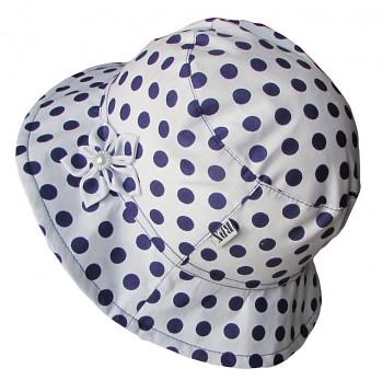 Klobouk bílý s tmavě modrými  puntíky